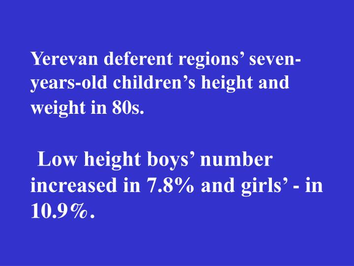 Yerevan deferent regions' seven-years-old children's height and weight in 80s.