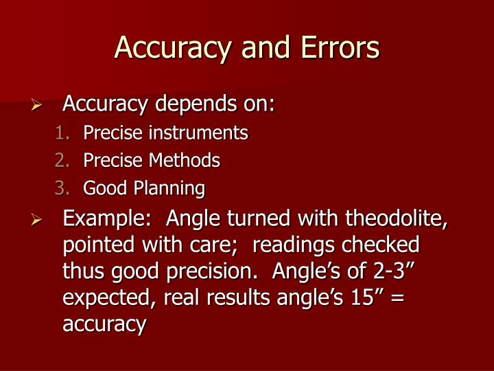 Accuracy and Errors