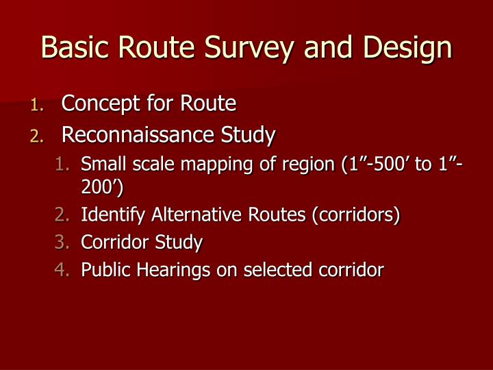 Basic Route Survey and Design