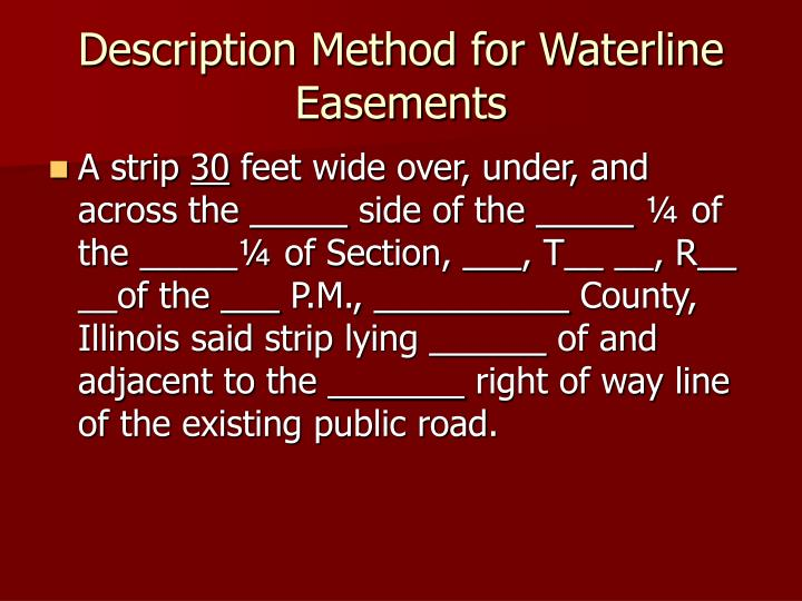 Description Method for Waterline Easements