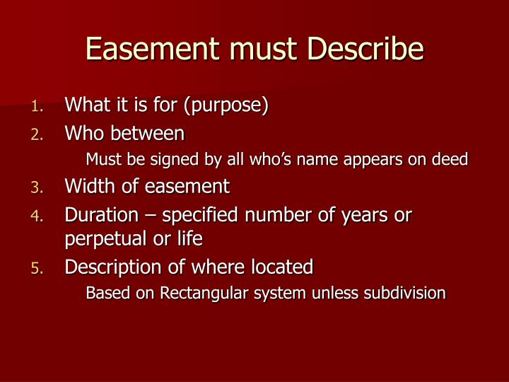 Easement must Describe