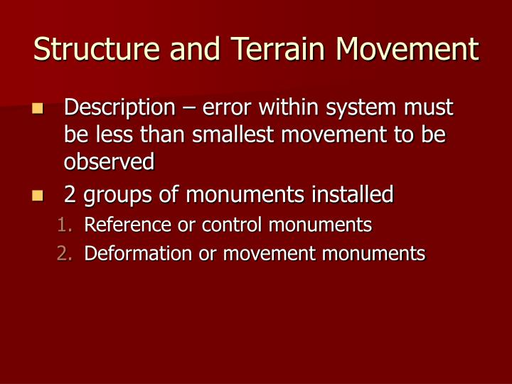 Structure and Terrain Movement