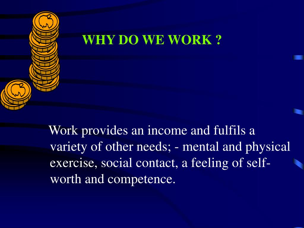 WHY DO WE WORK ?