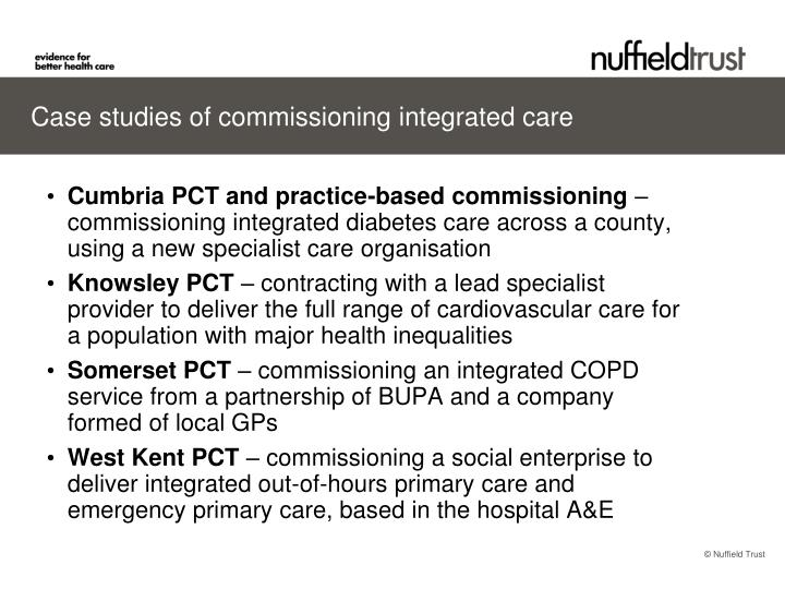 Case studies of commissioning integrated care