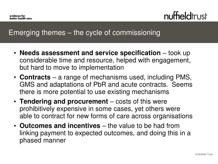 Emerging themes – the cycle of commissioning