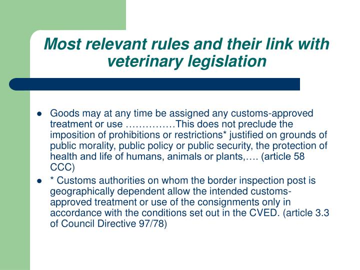 Most relevant rules and their link with