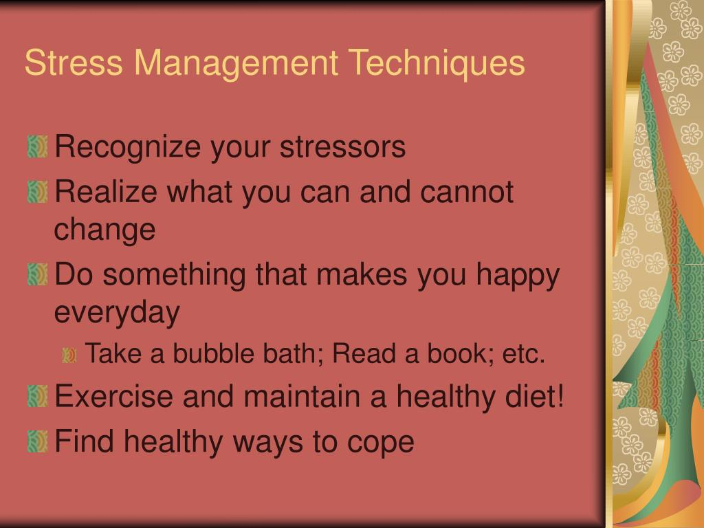 stress management techniques essay 1) introduction: describe two stress management techniques be sure to use apa in-text citations and include the following information: a) define the word stress.
