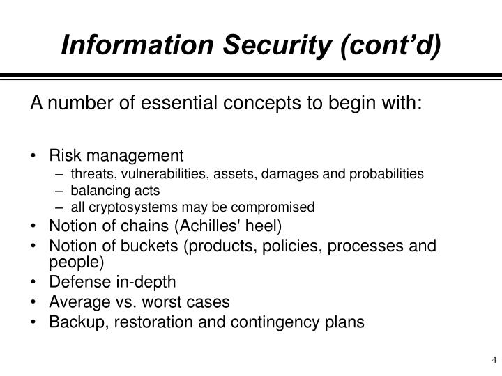 Information Security (cont'd)
