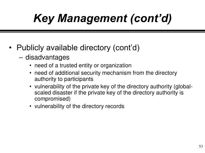 Key Management (cont'd)