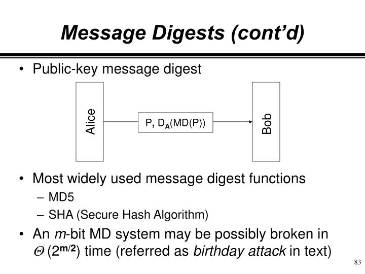 Message Digests (cont'd)