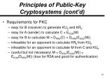 principles of public key cryptosystems cont d