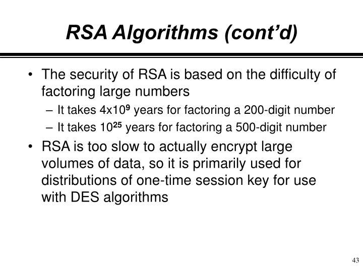 RSA Algorithms (cont'd)