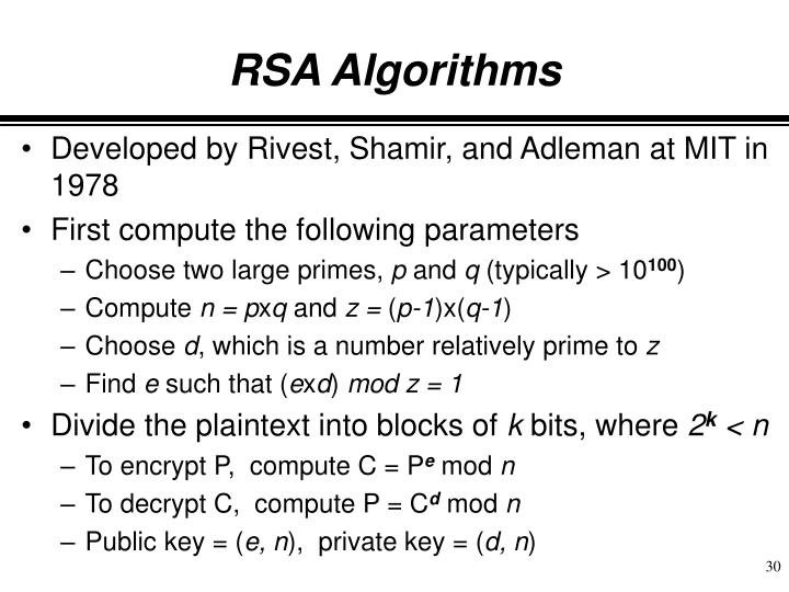 RSA Algorithms
