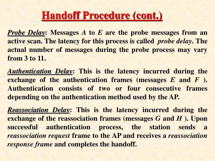 Handoff Procedure (cont.)