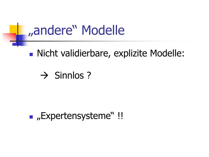"""andere"" Modelle"