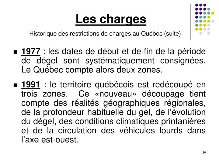 Les charges