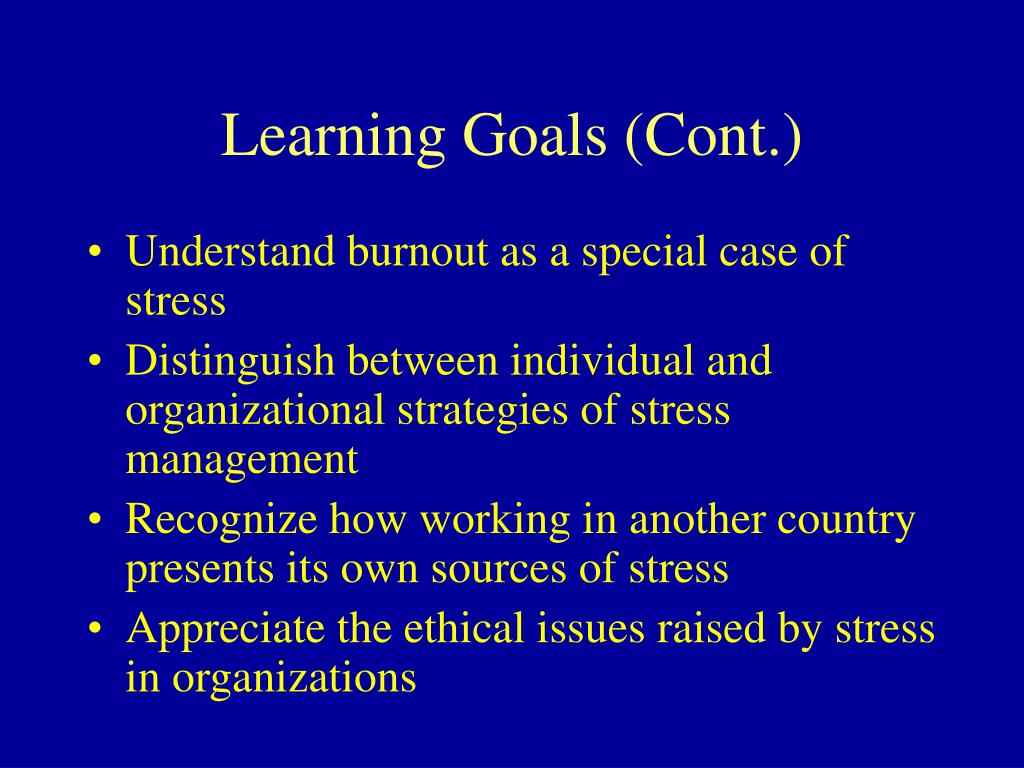 Learning Goals (Cont.)