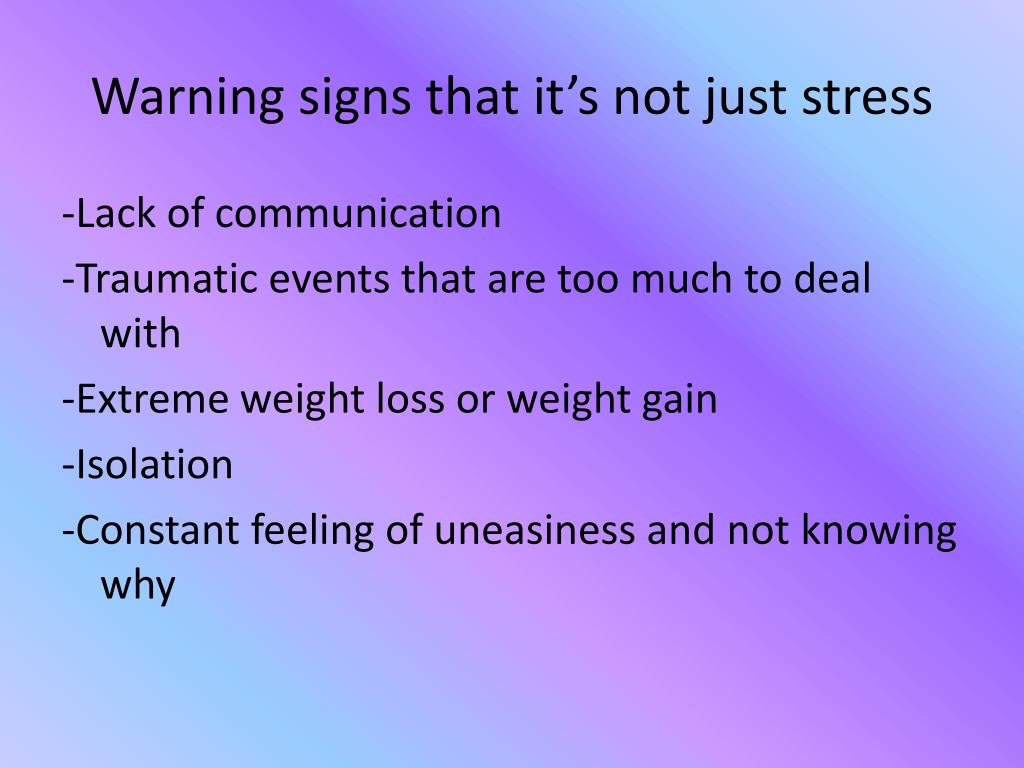 Warning signs that it's not just stress