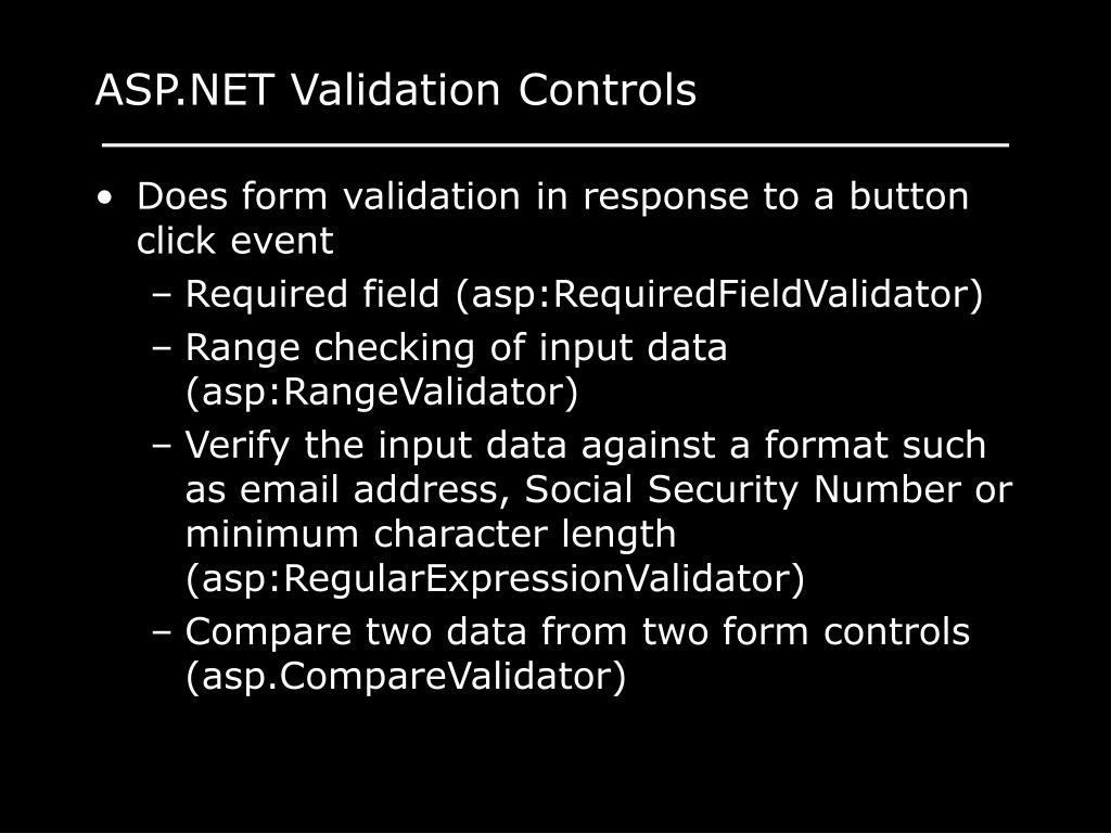 ASP.NET Validation Controls