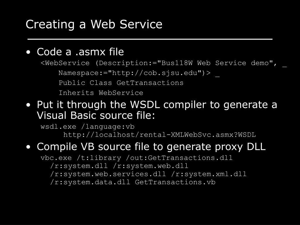 Creating a Web Service