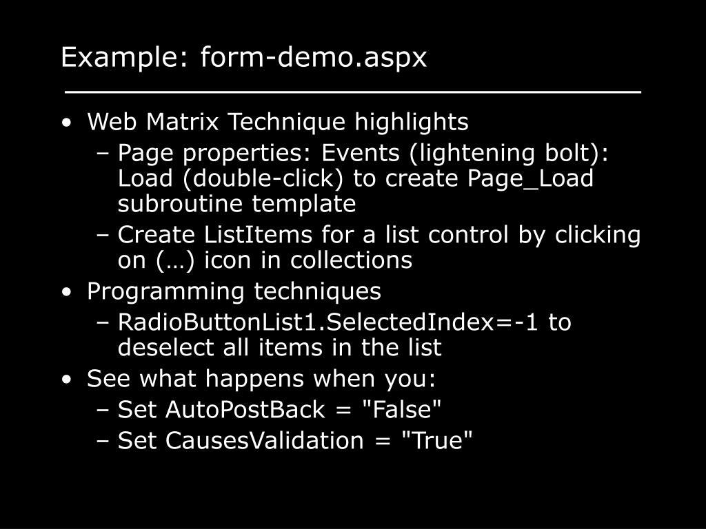 Example: form-demo.aspx