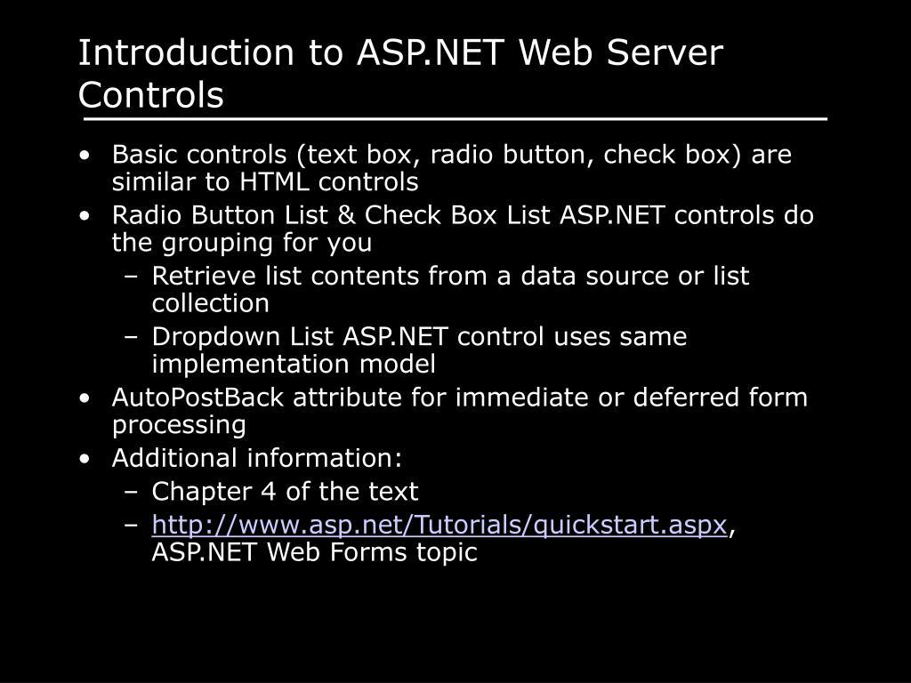 Introduction to ASP.NET Web Server Controls