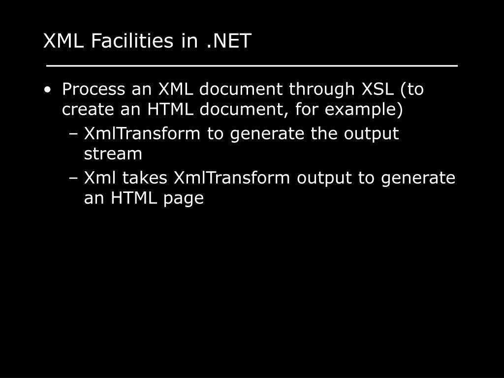 XML Facilities in .NET