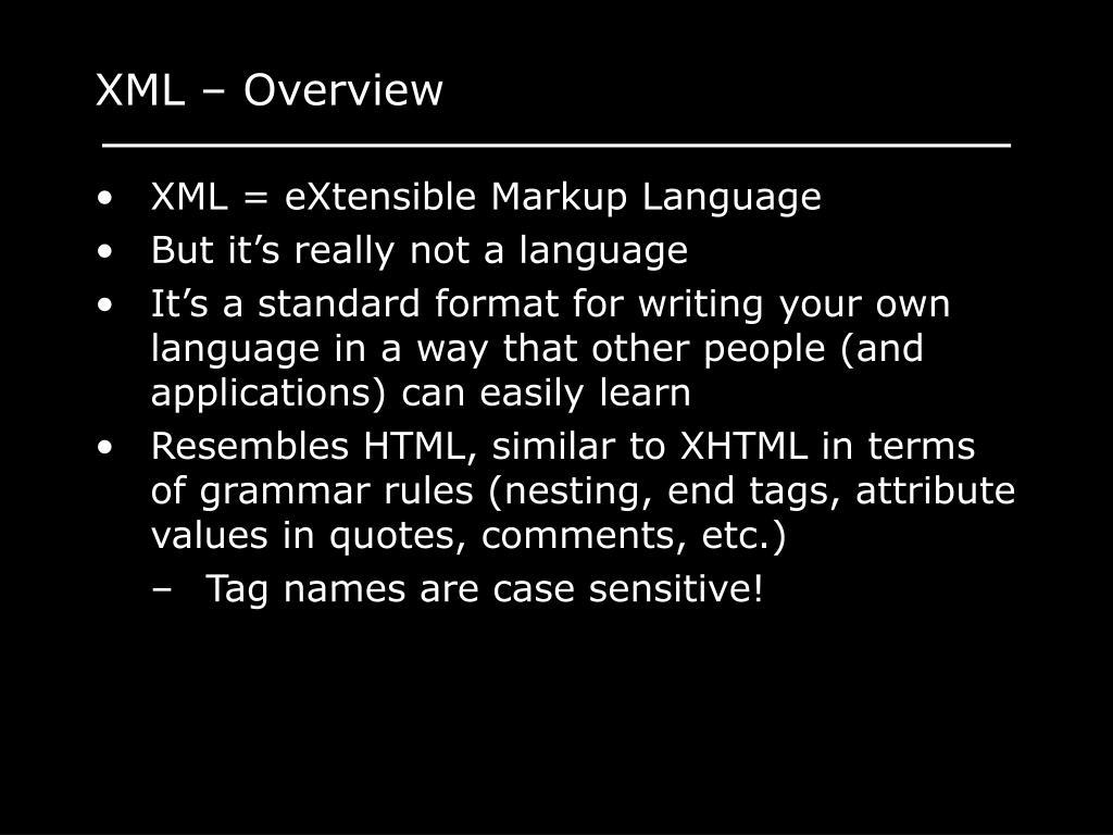 XML – Overview