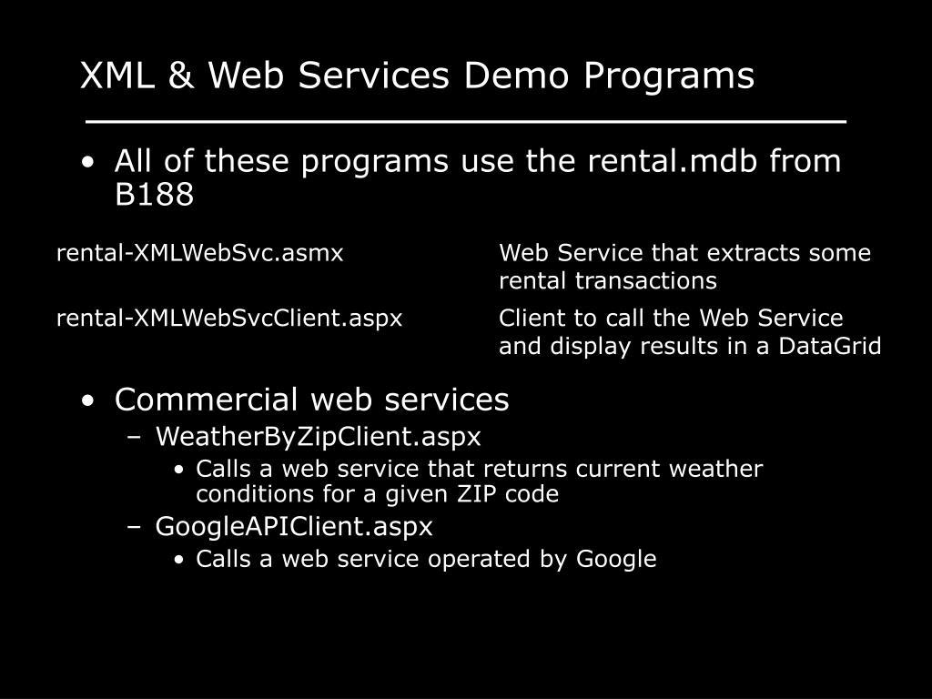 XML & Web Services Demo Programs