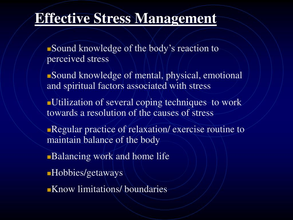 Effective Stress Management