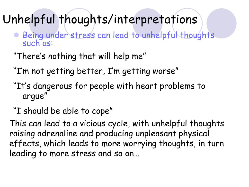 Unhelpful thoughts/interpretations