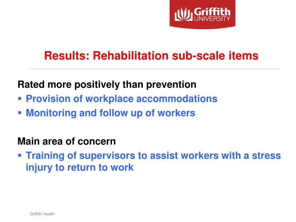 Results: Rehabilitation sub-scale items