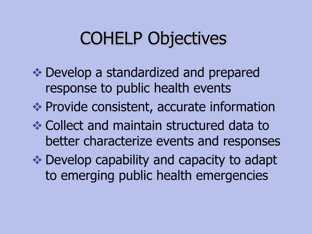 COHELP Objectives