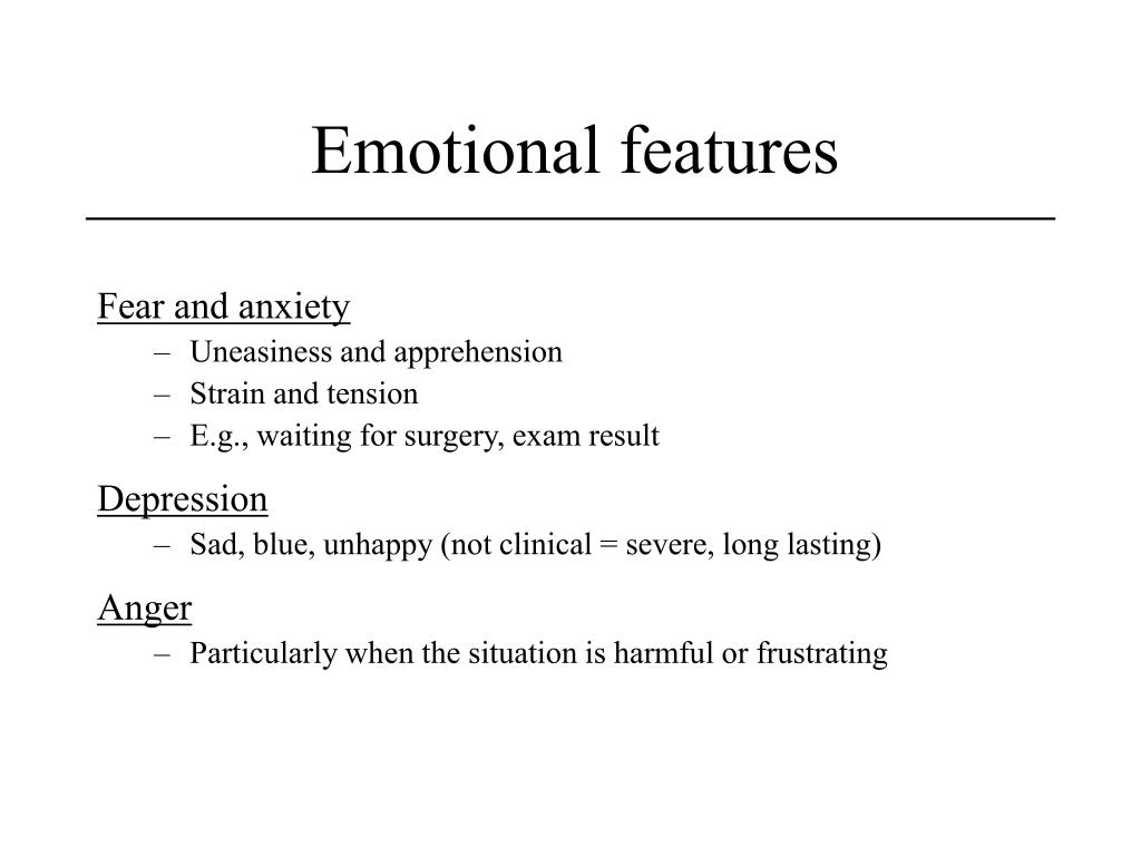 Emotional features