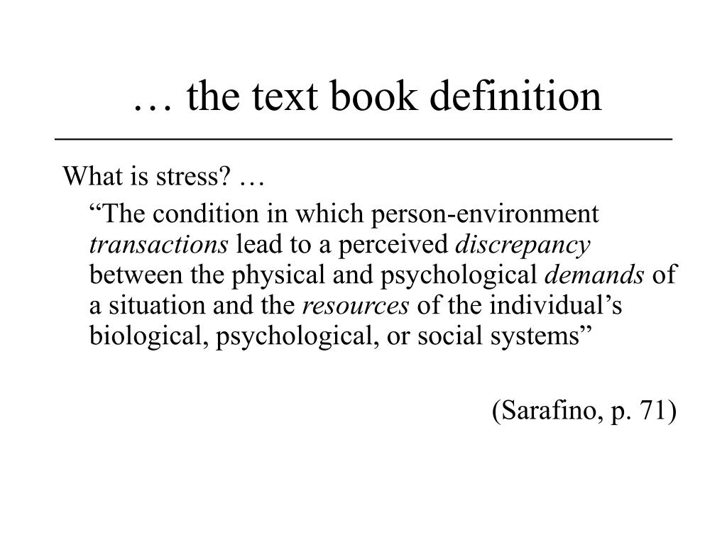 … the text book definition