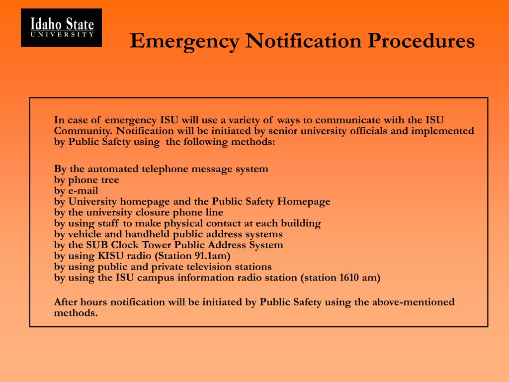 Emergency Notification Procedures