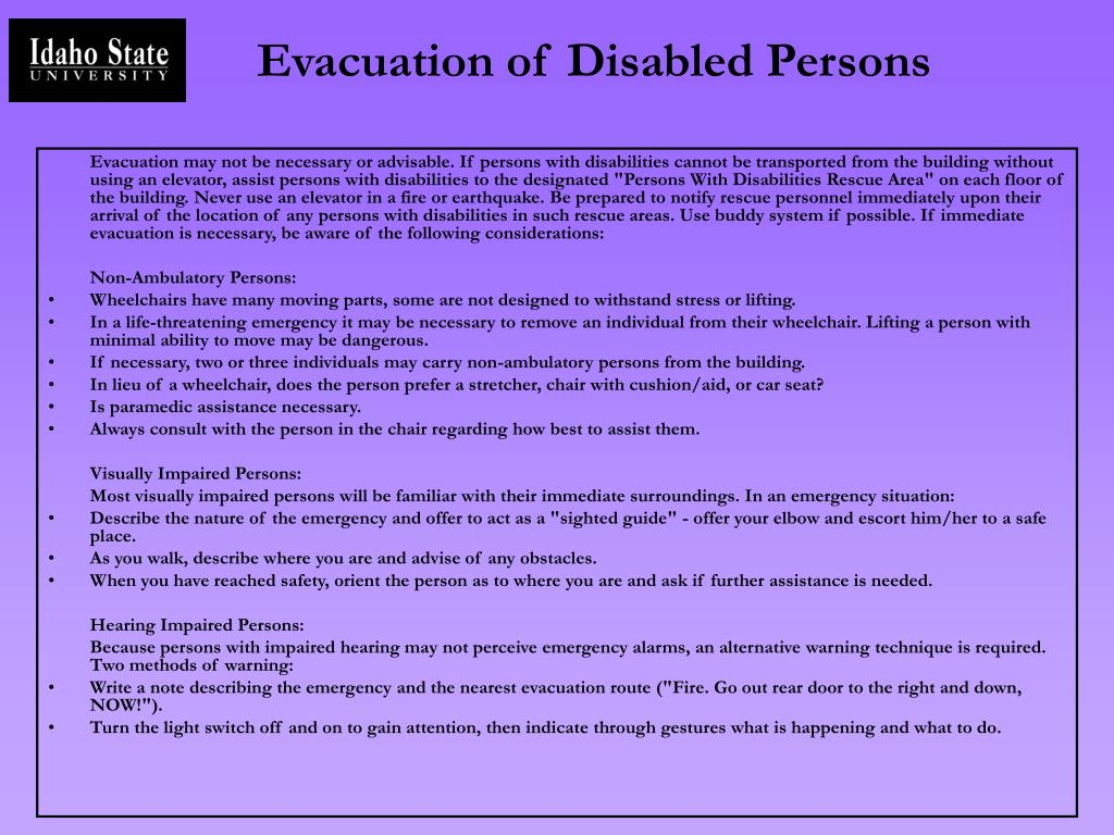 Evacuation of Disabled Persons