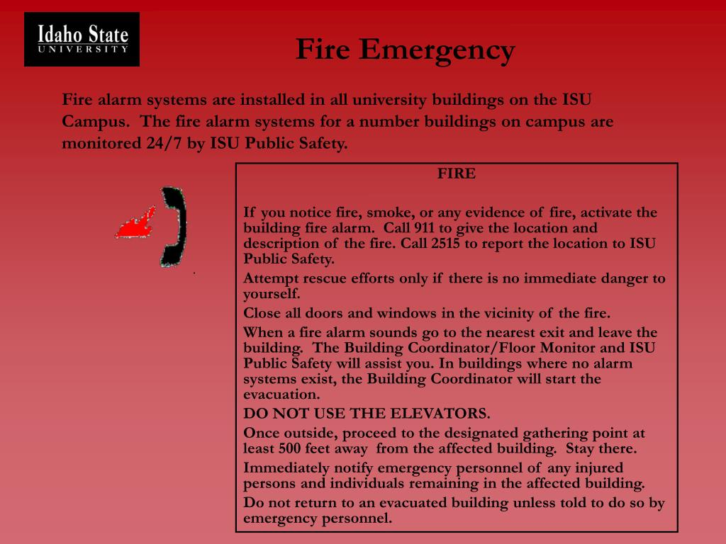 Fire alarm systems are installed in all university buildings on the ISU Campus.  The fire alarm systems for a number buildings on campus are monitored 24/7 by ISU Public Safety.