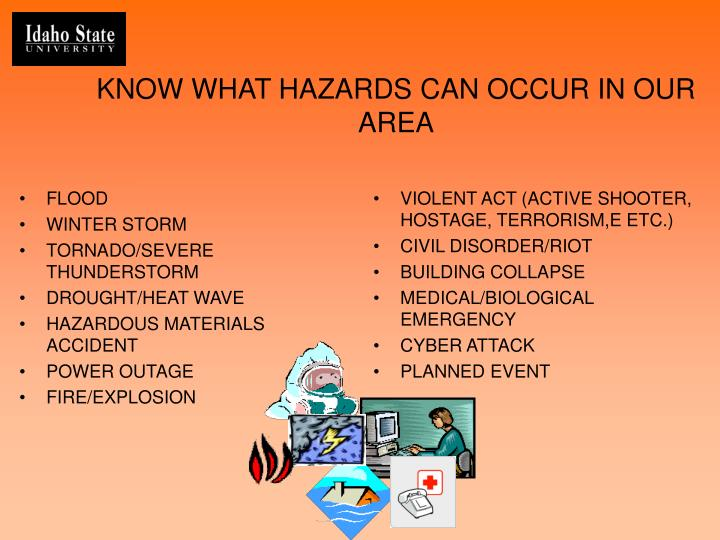 Know what hazards can occur in our area
