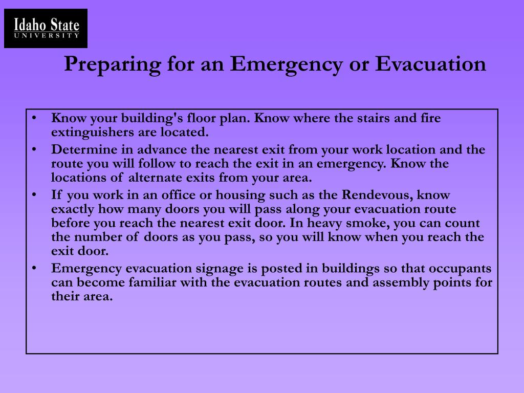 Preparing for an Emergency or Evacuation