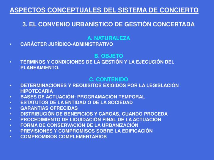 ASPECTOS CONCEPTUALES DEL SISTEMA DE CONCIERTO