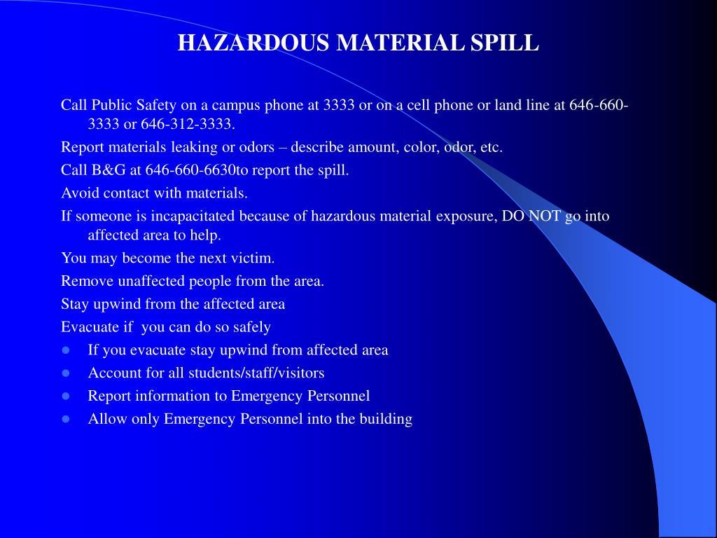 HAZARDOUS MATERIAL SPILL