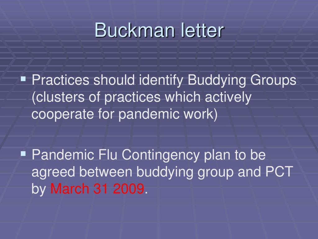 Buckman letter