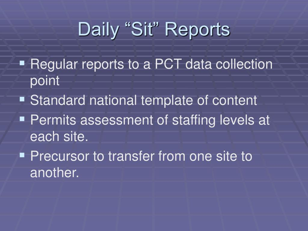 "Daily ""Sit"" Reports"