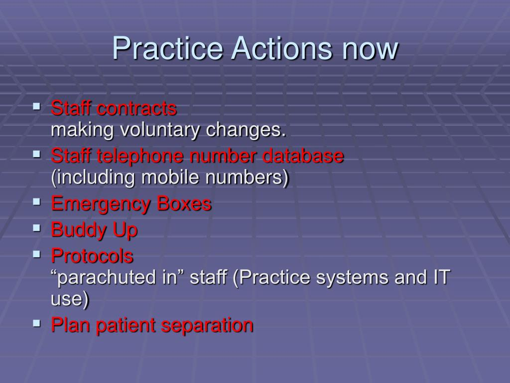 Practice Actions now