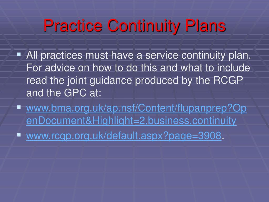 Practice Continuity Plans