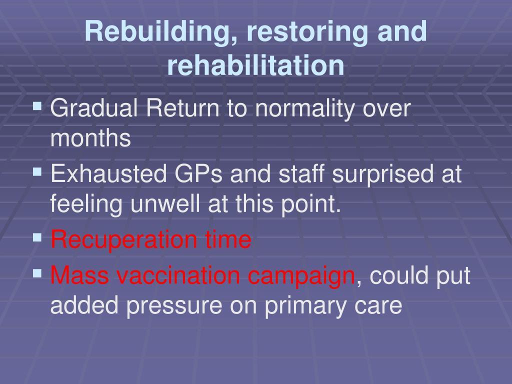 Rebuilding, restoring and rehabilitation