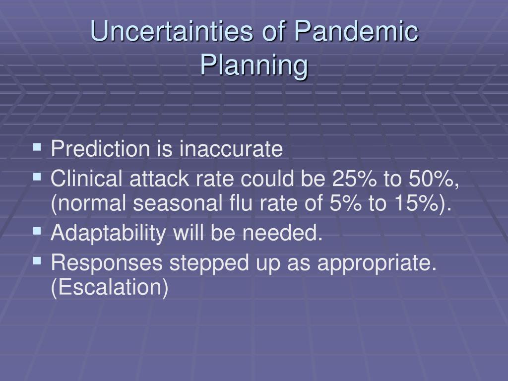 Uncertainties of Pandemic Planning