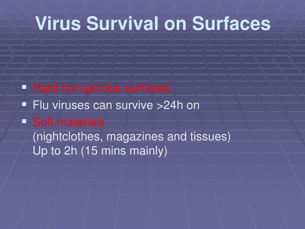 Virus Survival on Surfaces