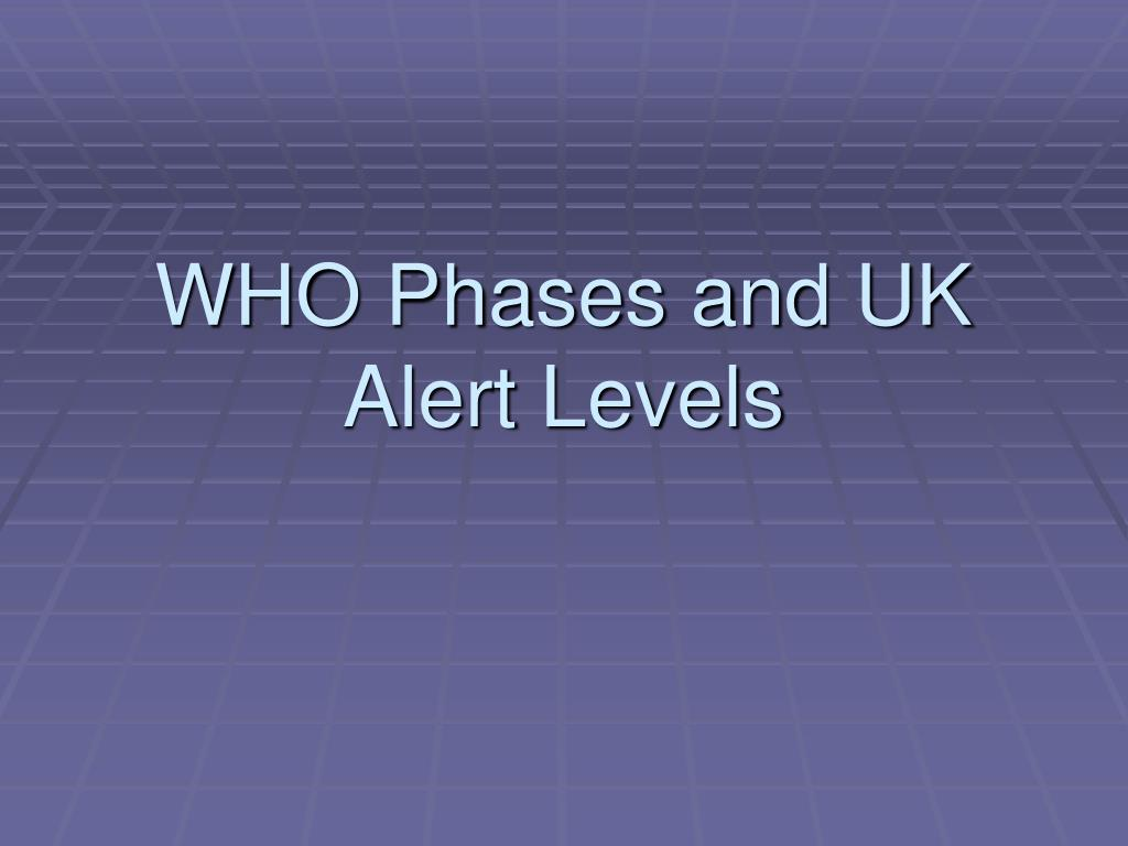WHO Phases and UK Alert Levels